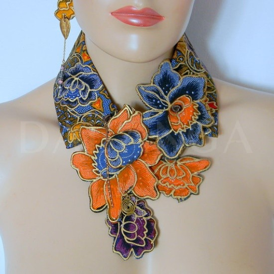 Dabanga African inspired fabric necklace