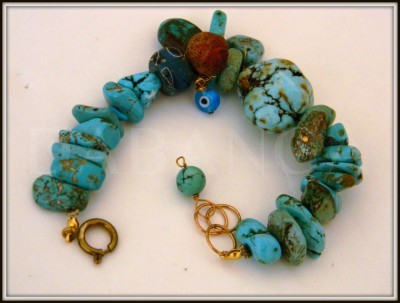 mixed media Turquoise bracelet by Dabanga
