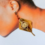 Brass diamond multi shape artisan earring- Dabanga