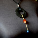 Ebony wood gemstone pendsnt